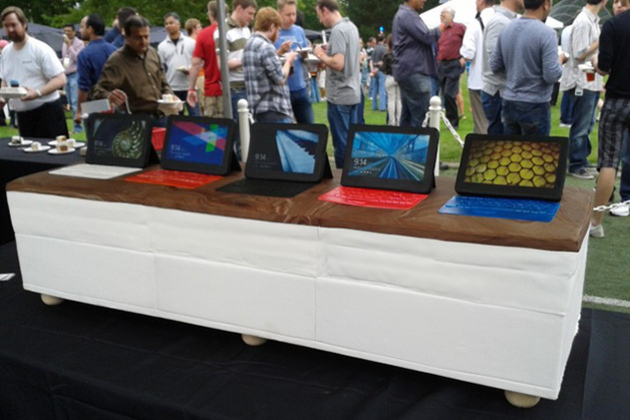 photo image Microsoft bakes giant Surface cake for Windows 8 party