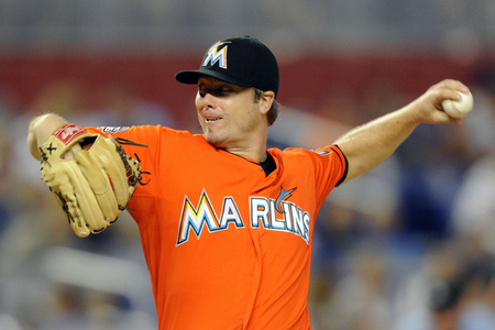 Aug 12, 2012; Miami, FL, USA; Miami Marlins starting pitcher Wade LeBlanc (23) throws during the first inning against the Los Angeles Dodgers at Marlins Park. Mandatory Credit: Steve Mitchell-US PRESSWIRE
