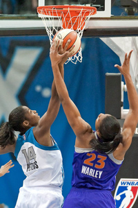 While Minnesota Lynx rookie Devereaux Peters is having a very productive learning year, undrafted rookie Avery Warley is making an impact on the boards. Photo by Greg Smith-US PRESSWIRE.