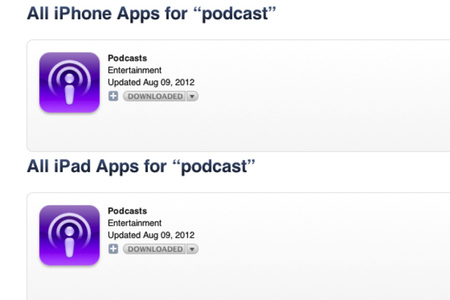 iTunes Podcast results