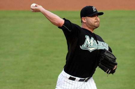Ricky Nolasco had a number of strong performances in a Florida Marlins uniform, including one on this date, August 18, 2009.  (Photo by Marc Serota/Getty Images)