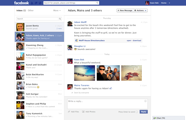 facebook new messages view