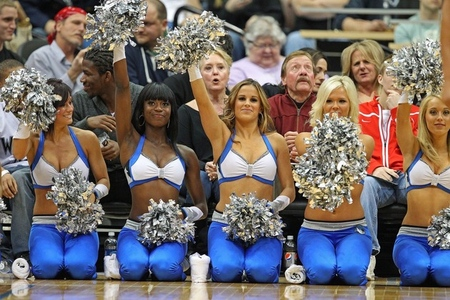 Apr 9, 2012; Minneapolis, MN, USA: Minnesota Timberwolves dancers cheers during the second half against the Phoenix Suns at Target Center The Suns won 114-90. Mandatory Credit: Jesse Johnson-US PRESSWIRE