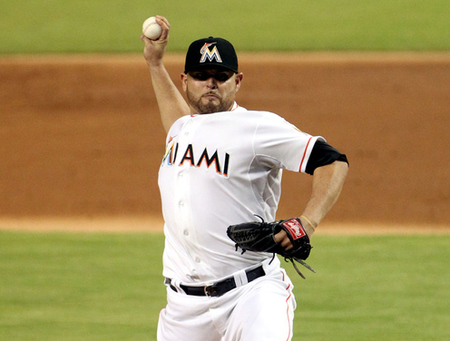 MIAMI, FL - AUGUST 28:  Pitcher Ricky Nolasco #47 of the Miami Marlins throws against the Washington Nationals at Marlins Park on August 28, 2012 in Miami, Florida.  (Photo by Marc Serota/Getty Images)