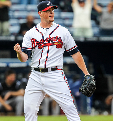 September 6, 2012; Atlanta, GA, USA; Atlanta Braves relief pitcher Craig Kimbrel (46) celebrates his 34th save against the Colorado Rockies at Turner Field. The Braves won 1-0. Mandatory Credit: Daniel Shirey-US PRESSWIRE