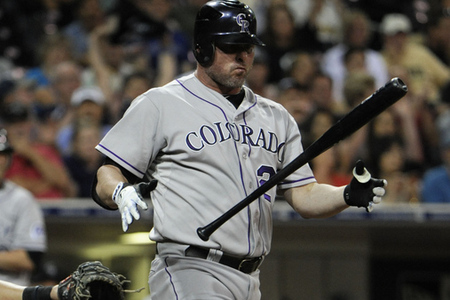 SAN DIEGO, CA - SEPTEMBER 15:  Jason Giambi #23 of the Colorado Rockies tosses hit bat after taking a strike during the ninth inning of  a baseball game against the San Diego Padres at Petco Park on September 15, 2012 in San Diego, California. The Padres won 4-3.  (Photo by Denis Poroy/Getty Images)