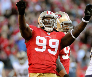 SAN FRANCISCO, CA - DECEMBER 04: Aldon Smith celebrates after sacking quarterback A.J. Feeley #4 of the St Louis Rams at Candlestick Park on December 4, 2011 in San Francisco, California. The 49ers won the game 26-0. (Photo by Thearon W. Henderson/Getty Images)