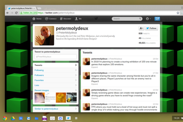 Peter Molydeux Twitter account