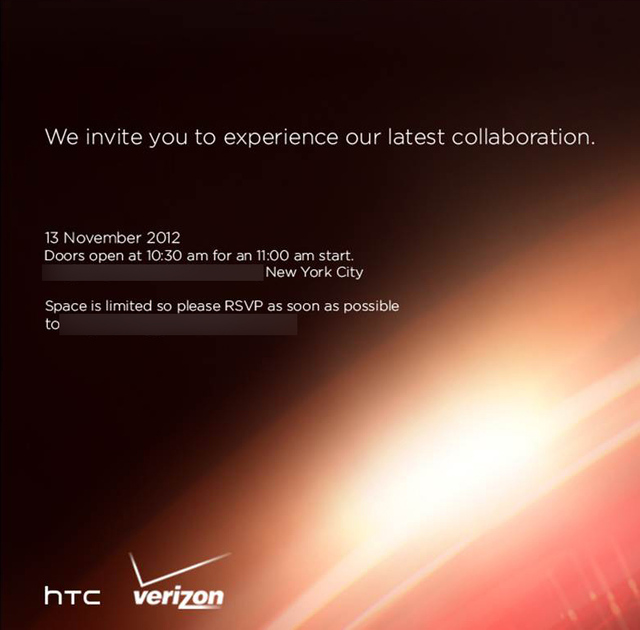HTC Verizon event invite November 13th