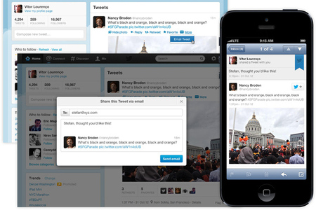 Twitter email sharing screenshot