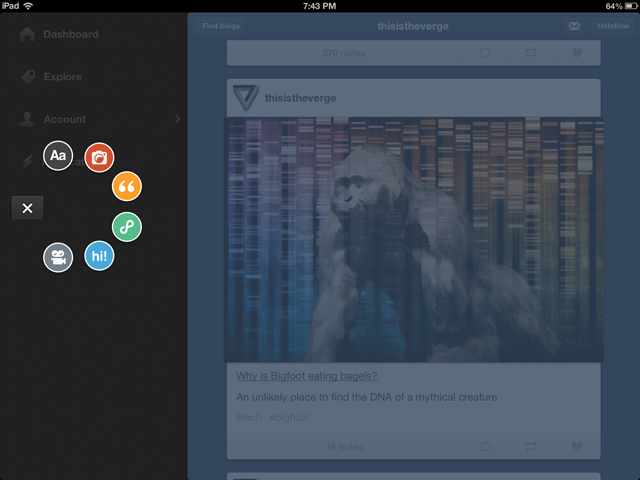 TUMBLR FOR IPAD screen