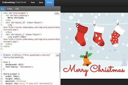 codecademy holiday card screenshot