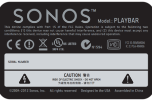 Sonos Playbar FCC label