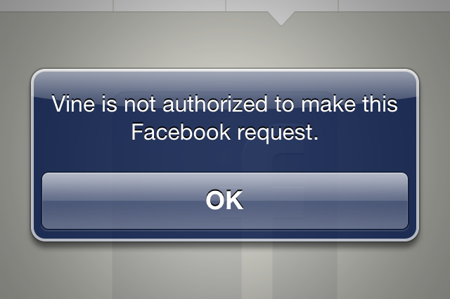 vine facebook error