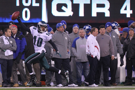EAST RUTHERFORD NJ - DECEMBER 19:  DeSean Jackson #10 of the Philadelphia Eagles runs in the game winning touchdown on a punt return against the New York Giants at New Meadowlands Stadium on December 19 2010 in East Rutherford New Jersey.  (Photo by Nick Laham/Getty Images)