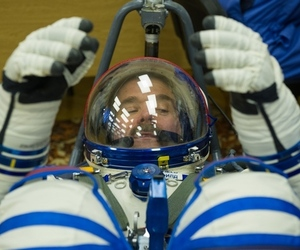 Chris Hadfield in Russian Space Suit (Credit: NASA/GCTC/Andrey Shelepin)