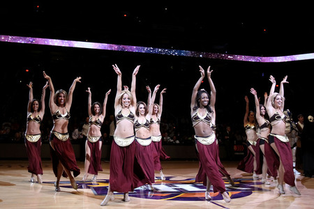 "The Phoenix Suns cheerleaders perform in ""Star Wars"" themed outfits before the NBA game against the Sacramento Kings at US Airways Center  (Photo by Christian Petersen/Getty Images)"