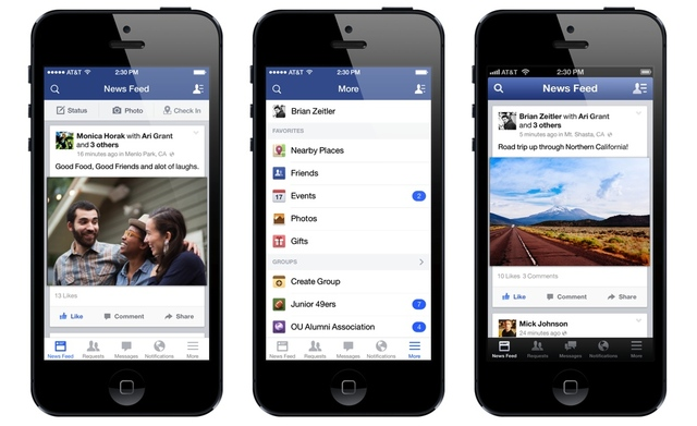 Facebook ios7 redesign
