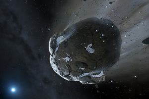 water-rich asteroid (from: Mark A. Garlick, space-art.co.uk, University of Warwick and University of Cambridge)