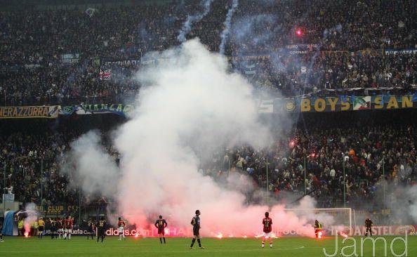 The Curva Nord erupts