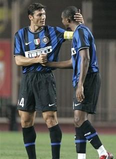 Zanetti gives the new boy a little love.