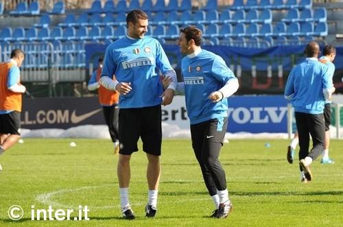 Javier Zanetti and Thiaggo Mott