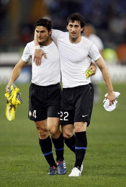 Zanetti and Milito after Lazio