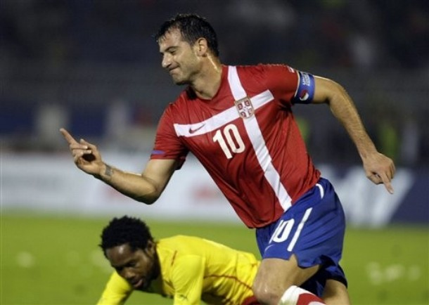 Deki scores for Serbia against Cameroon