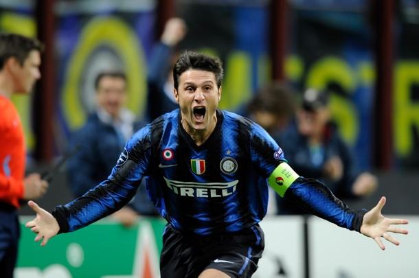 Zanetti after scoring the Champions League