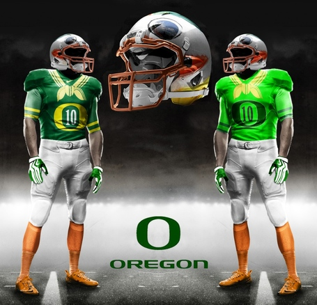 these fake Oregon Ducks uniforms at a college football game this year
