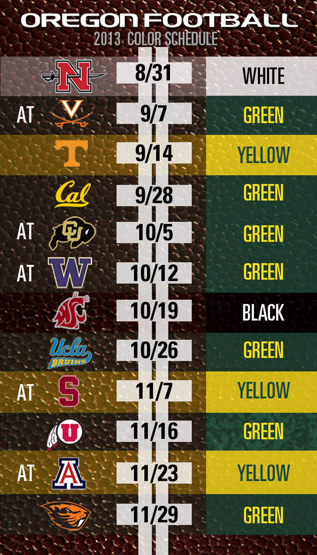 Most Oregon Ducks Thing Of The Day 2013 Football Uniform Color