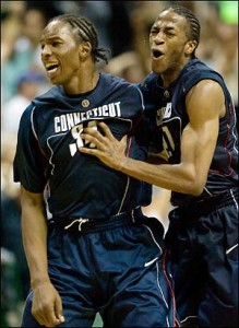 Hasheem Thabeet and an invisible man celebrate.