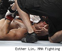 Randy Couture gets knocked out by Lyota Machida at UFC 129.