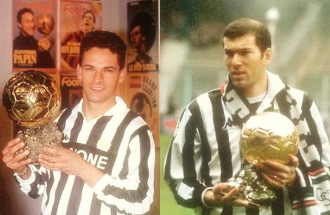 Roberto Baggio and Zidane after winning their European Footballer of the Year awards.