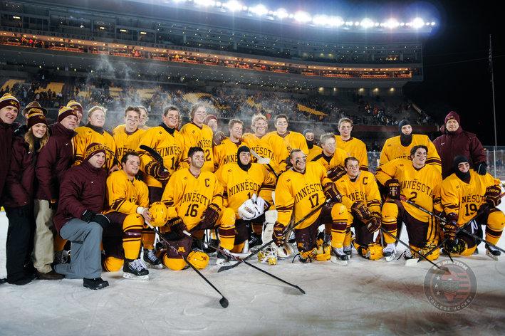 BIG10: 2014 Hockey City Classic - Minnesota Vs. Ohio State Photo Gallery (Outdoor Ice Makes For Better Hoopla Than Hockey)