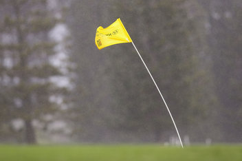 Flag in winds at Hyundai ToC