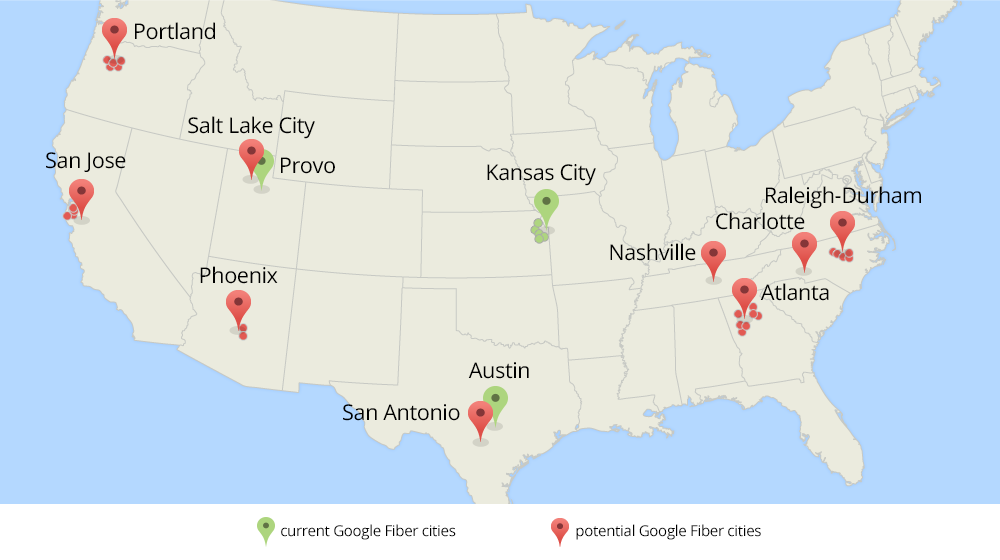 Google Will Explore Bringing Fiber To 34 New Cities Including - Portland-on-us-map