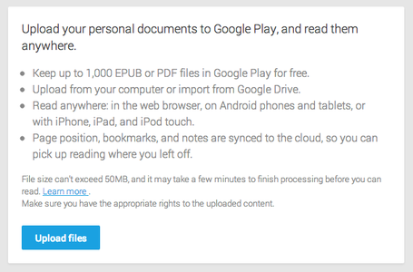 Google Play Books enables user ebook uploads, Google Drive