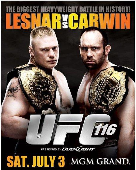 UFC 116 Lesnar vs. Carwin – oficjalny plakat.
