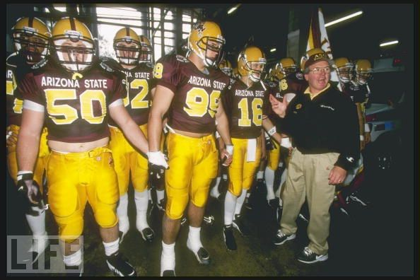 137b53970 The team that should have been ours  Bruce Snyder leads his Arizona State  team onto the field at the 1997 Rose Bowl game.